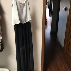 White top with black bottom maxi dress,